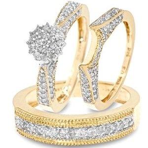 Diamond His and Hers Trio Matching Wedding Ring Set 14K Yellow Gold Three Ring - Ladies Engagement Ring, Wedding Band & Mens Wedding Band