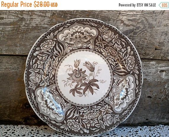 MOTHERS DAY SALE Brown Dinner Plate Brown Spode China Brown