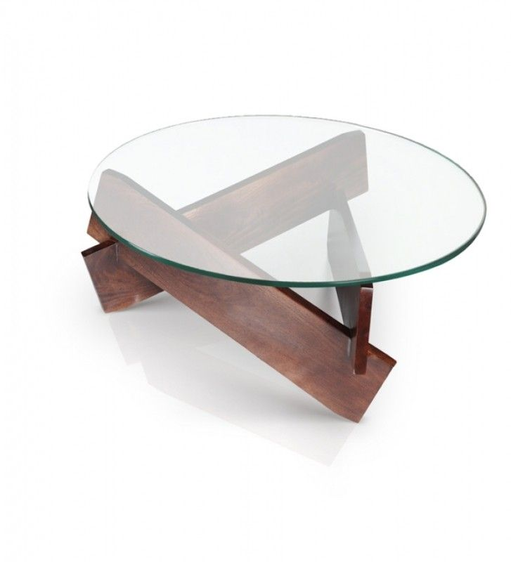 Round Wood And Gl Coffee Table Foter Home Pinterest