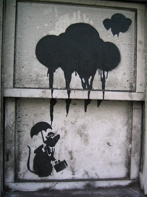 banksy rat & clouds by squeezemonkey, via Flickr