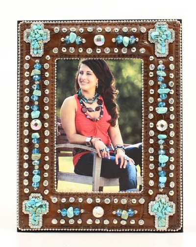 Western Decor Western Moments Turquoise Stone Bling 4x6 Western Picture Frame