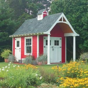 red garden shed with overhang
