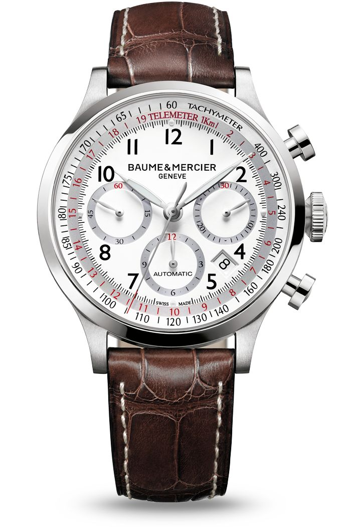 Discover the Capeland 10082 chronograph watch for men, with white dial and brown alligator leather strap, designed by Baume et Mercier, Swiss Watch Maker.