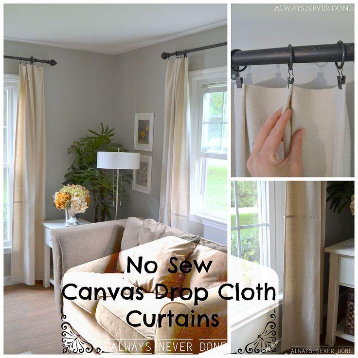 DIY No Sew Canvas Drop Cloth Curtains
