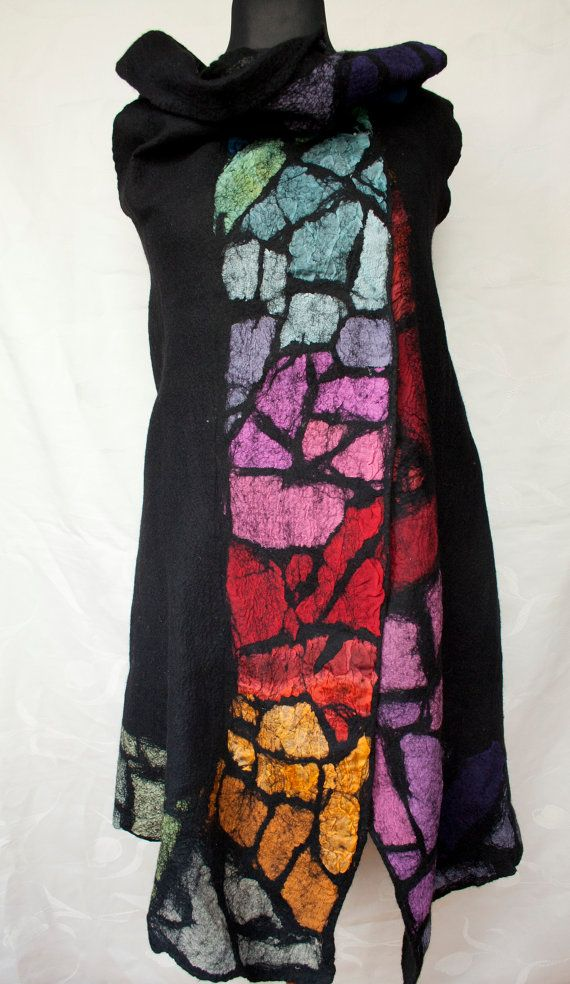 Black-Colorful Handmade Felted Vest by ClayLadyArt on Etsy