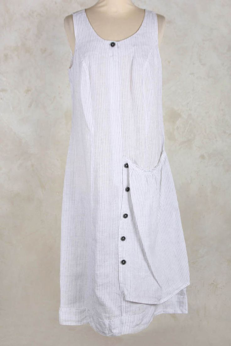 Dress with Layered Pocket in Charcoal Stripe - Crea Concept