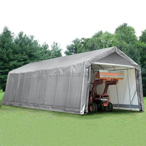ShelterLogic Peak Style Steel Gray Storage Shelter features a triple-layer, enhanced weave polyethylene cover that is UV treated inside and out. Its added fade blockers, anti-aging agents, and anti-fungal agents, result in a cover that withstands the elements with style. The solid ribbed design assembles in minutes with slip-together wedged tubing and bolt hardware at every connection to ensure a solid structure.