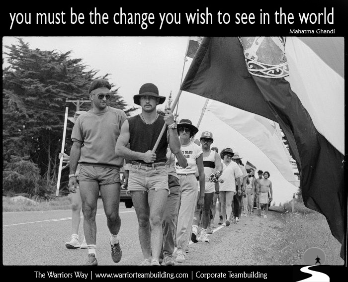 """""""You must be the change you wish to see in this world"""" Mahatma Ghandi.    Arnold Reedy and George Stirling lead Te Hikoi Ki Waitangi towards Waitangi, 3 February 1984    http://www.warriorteambuilding.com/  The Dominion Post Collection, Alexander Turnbull Library"""