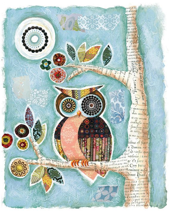 Owl art, Owl and Moon, Lori Siebert, Mixed Media, Print, Whimsical, Colorful, Kids Wall Art, Home Decor, Collage,