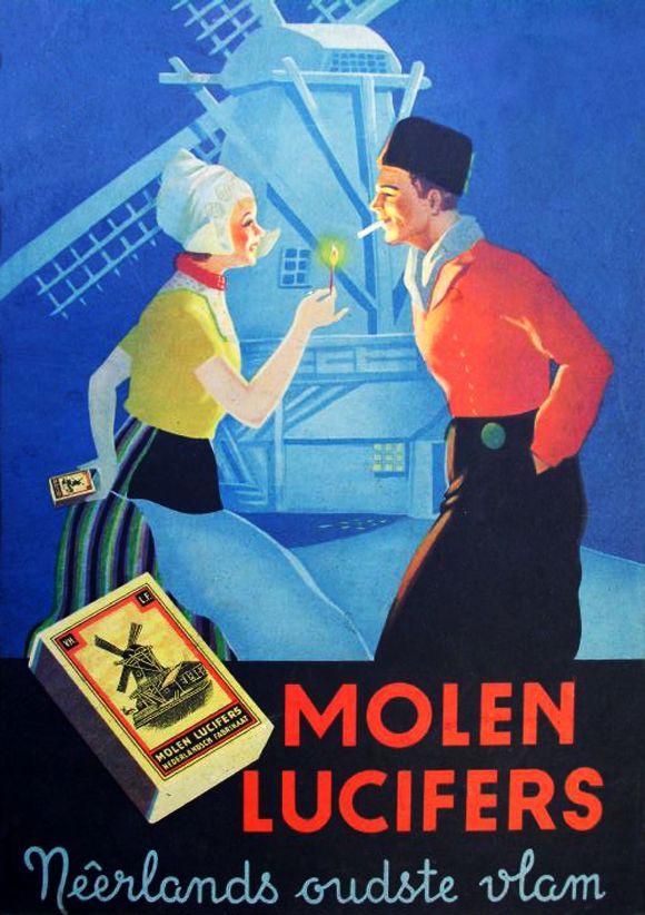 Advertentie van de lucifersfabrieken Mennen & Keunen - Molen Lucifers, VNLF Eindhoven.