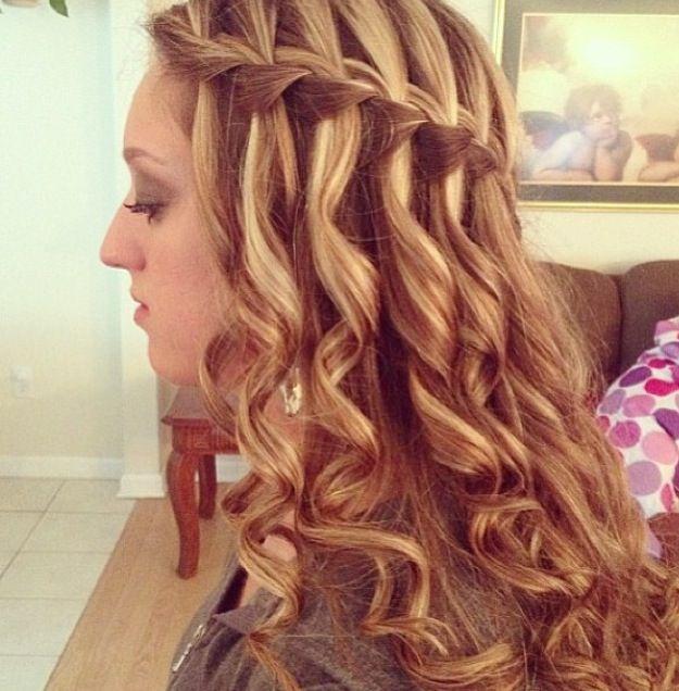 Waterfall braid with curly hair #braid #waterfall #curly # ...
