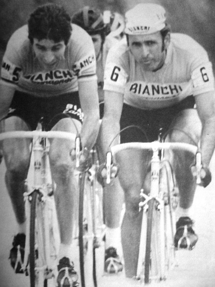 Felice Gimondi y Cochise Rodríguez en el clásico POC de el diario El Colombiano. (Colombia)