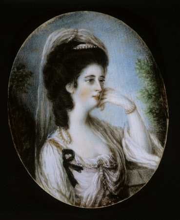 MARY ALBINIA WOODWARD, LADY PAGE a miniature in the manner of Nathaniel Hone, c1780 at Tyntesfield, North Somerset. She is wearing a black mourning ribbon on her dress indicating this was a mourning portrait.