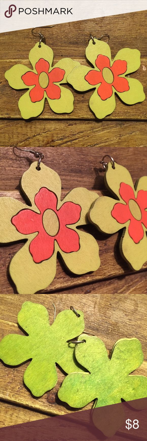 Flower Earrings in Green Handmade wooden flower earrings in green (orange also available). Large, but lightweight- and so cute! Features a green floral with orange center. Handmade Jewelry Earrings