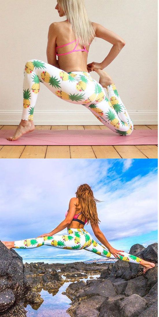 Sexy Cartoon Pineapple Fruit Printing Yoga Sports Ninth Girl's Skinny Legging for big sale ! #cartoon #sexy #fruit #pineapple #yoga #fashion