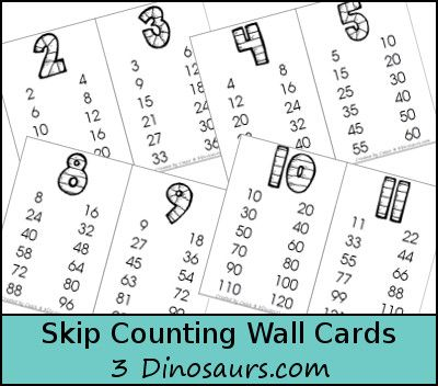 Skip Counting Wall Cards - 2 through 12 - skip counting 12 times - 3Dinosaurs.com