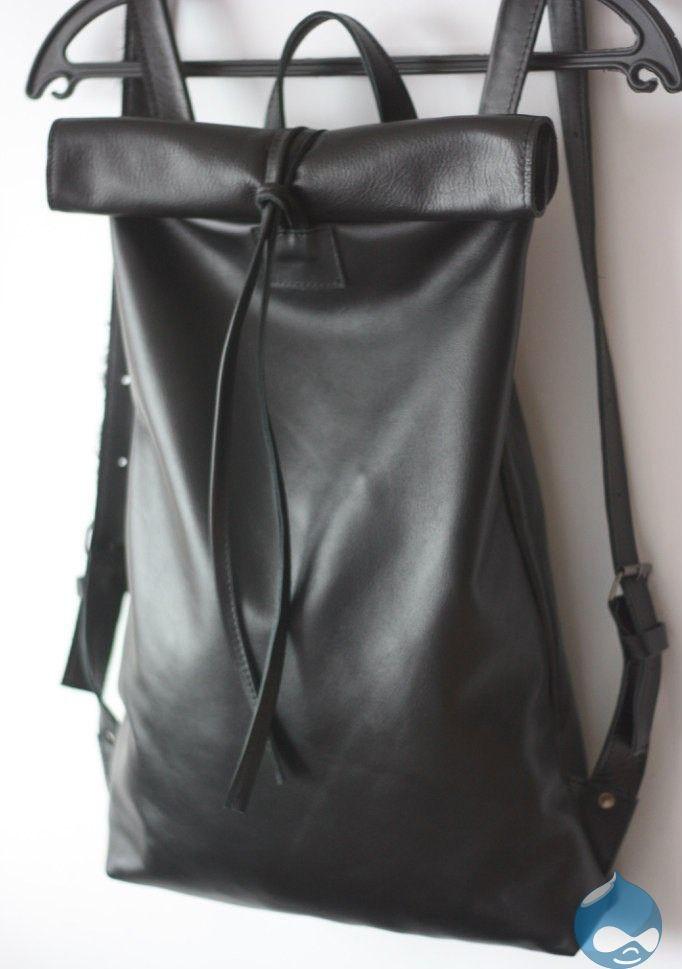 Черный кожаный женский рюкзак бренда VIRRONEN на веревочках