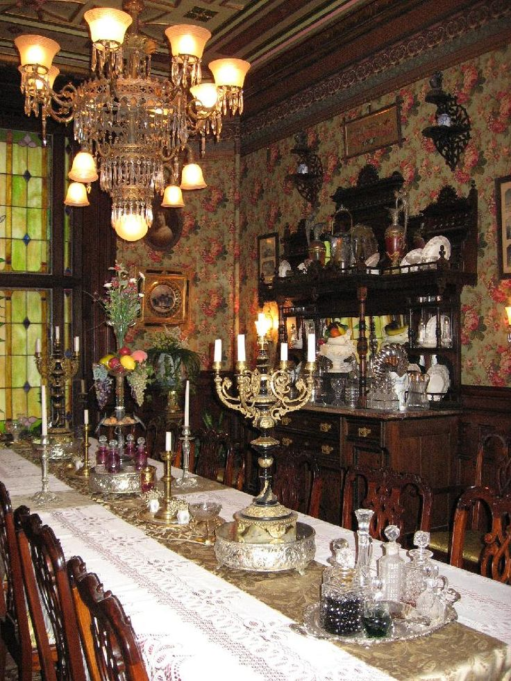Dining Room Elegant Victorian Style With Wallpaper And Chandelier Display Dresser Sconces Long
