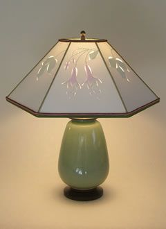 Celadon Green Lamp, Accent Paper Lamp Shades