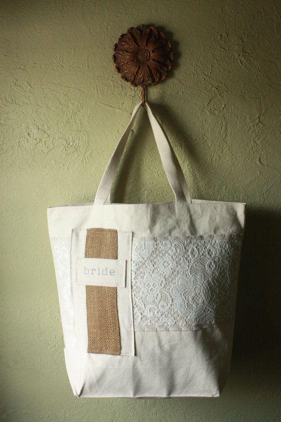 """Personalized Custom bride BURLAP """"Linen & Lace"""" Canvas ..."""