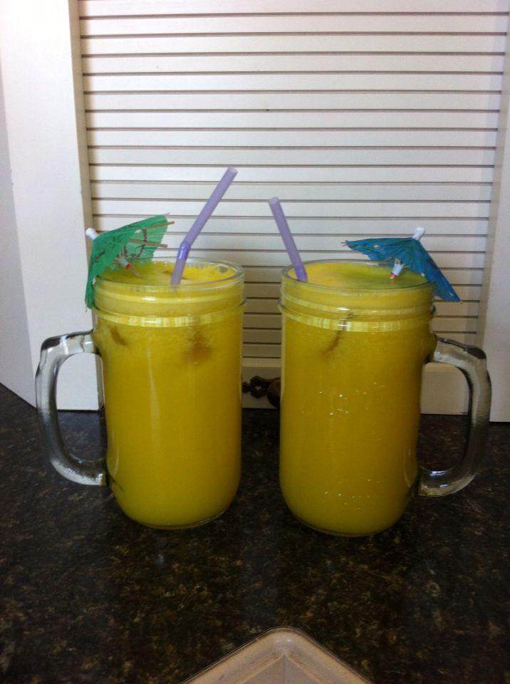 """Day #2 Drink 2.... Australian Gold.... 1 pineapple, 2 lemons, 2 yellow bell peppers, 2"""" Ginger root"""