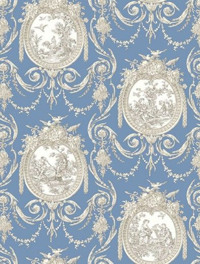 Cameo Toile  (SK175121) - Shand Kydd Wallpapers - A pretty navy blue and cream toile design depicted within stylised  frames.