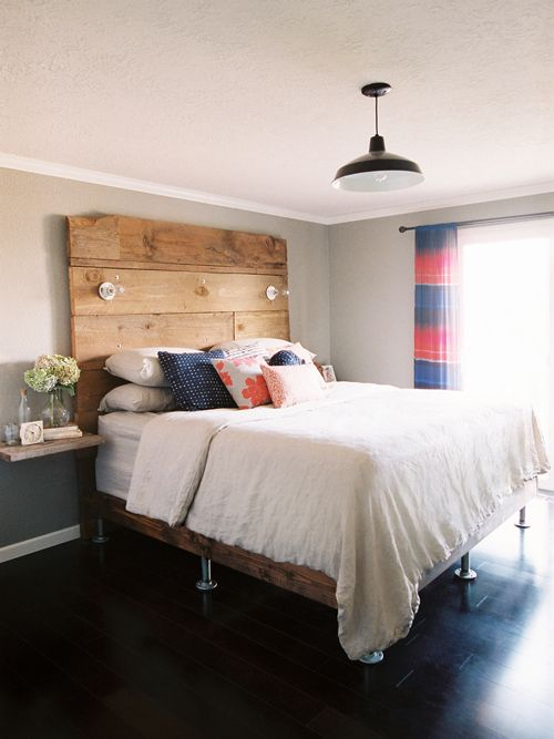 DIY Bed frame and headboard with floating shelves as side tables.  We could use old wood from our corrals b/c they have a nice patina to them and are, oh so rustic!