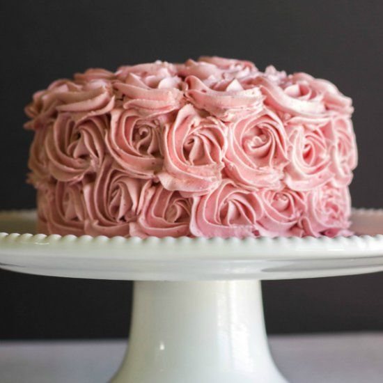 Taking the basic buttercream and turning it into something more: Raspberry Swiss meringue buttercream. No artificial coloring!
