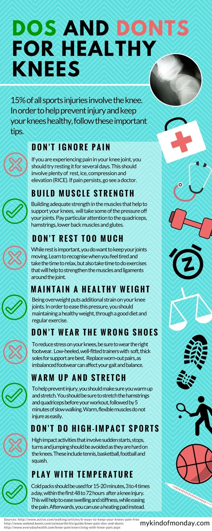Do's and Don'ts for supporting healthy knees and joints. #kneepain, #healthyknees, #glucosamine