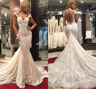 Sexy Mermaid Wedding Dresses Sweetheart Cap Sleeves Backless Lace Tulle Chapel Train Wedding Gowns