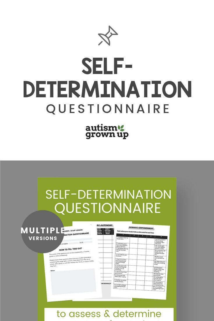 Self Determination Questionnaire Self Advocacy Self