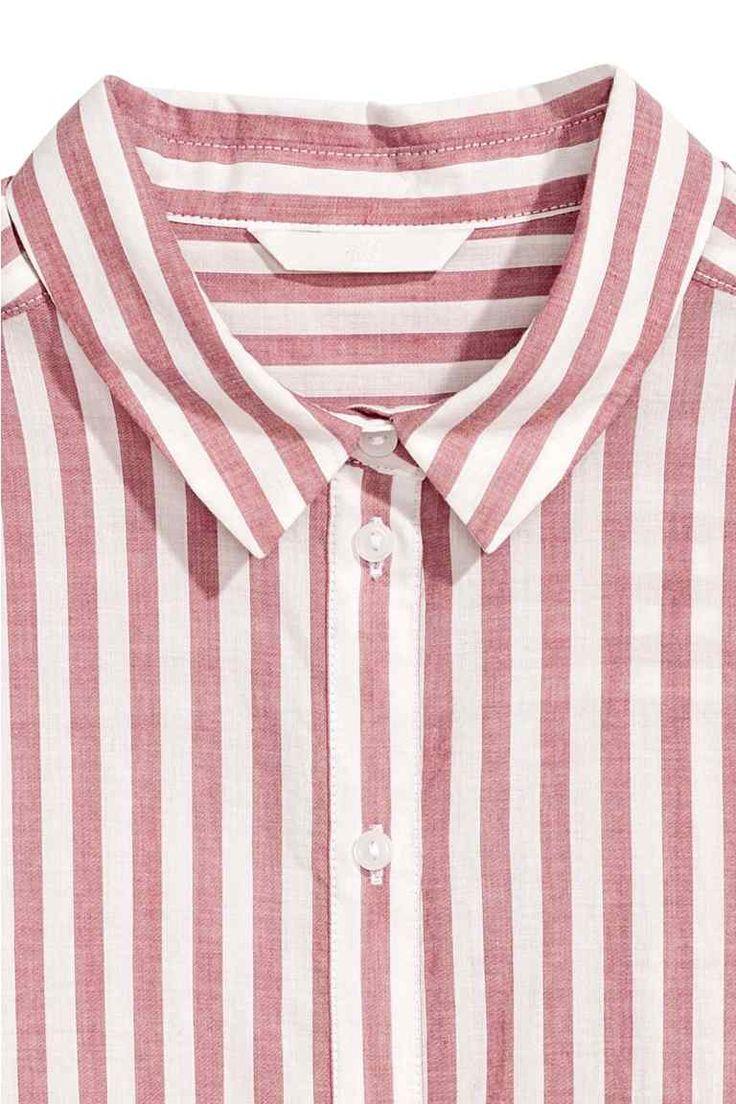 Camisa de algodón - Rojo/Rayas - MUJER | H&M ES