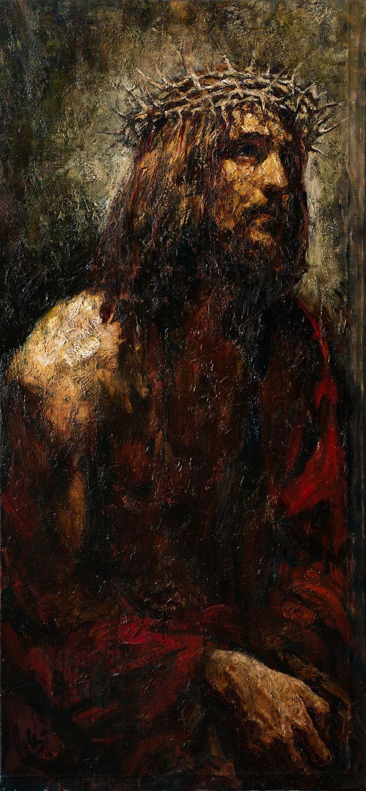 """Ecce homo"", 162x75 cm, oil on canvas,2013. Anatoly Shumkin"