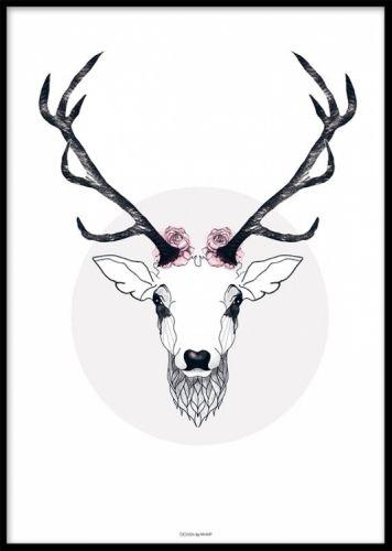 Vacker poster, affisch från MHMP, hjort med horn och blommor. Snygga tavla med svart träram. www.desenio.se
