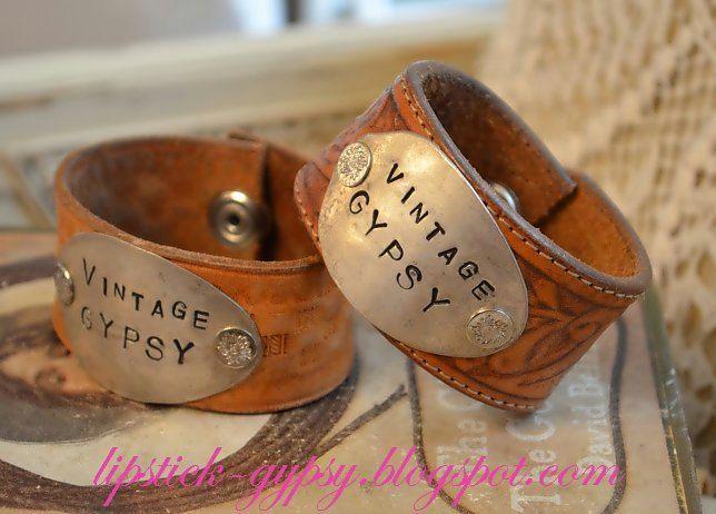 ORIGINAL Hippie, Gypsy, Boho, Cowgirl, ooak Stamped Silver Spoon Vintage Leather Cuff -Vintage Gypsy- As Seen on HGTV's Junk Gypsies-. $55.00, via Etsy.