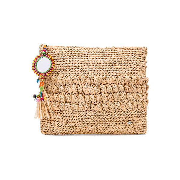 florabella Muga Clutch ($125) ❤ liked on Polyvore featuring bags, handbags, clutches, woven handbags, tassel handbag, fringe clutches, beaded hand bags and fringe handbags