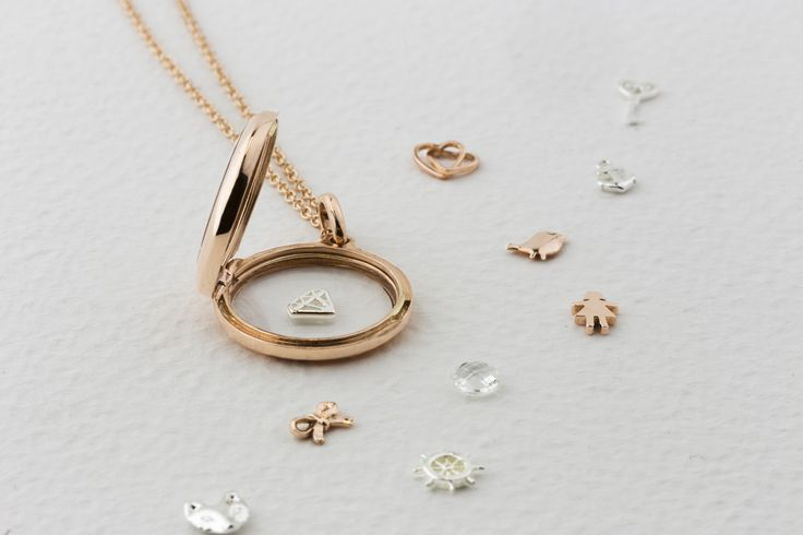 22mm Rose Gold Locket and Scattered Rose Gold and Silver Charms