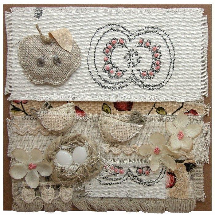 Přání textilní koláž Přání s jablíčkem : Ostatní přání do obálky : Prodej přáníček : Originální ruční přáníčka