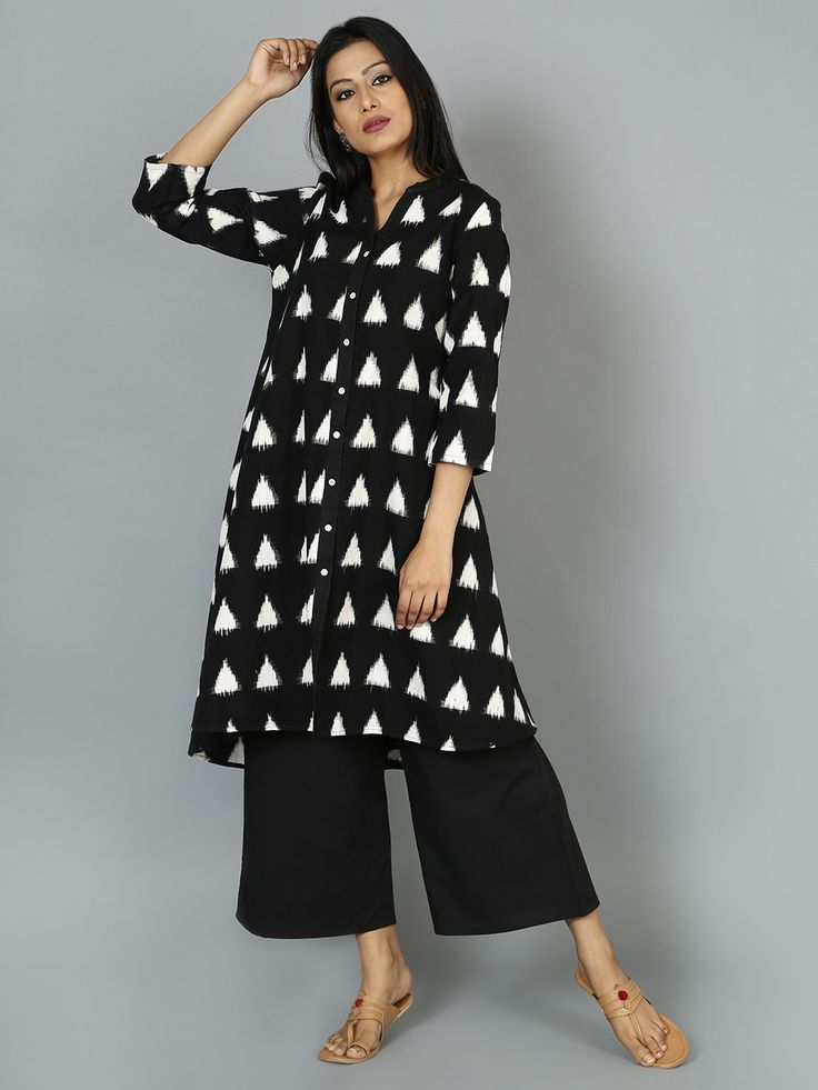 Black Off White Ikat Cotton Kurta – The Loom
