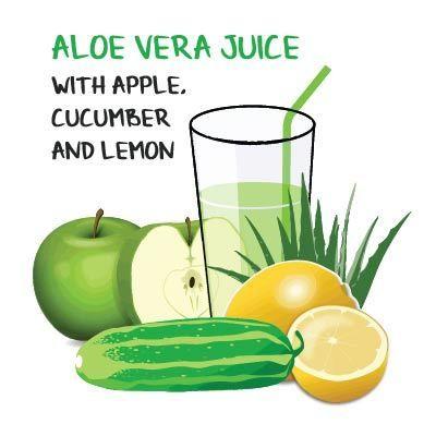 Aloe Vera #Juice Recipe with apple, cucumber and lemon. This and other aloe vera juice recipes here: http://ifocushealth.com/why-you-should-start-drinking-aloe-vera-juice/