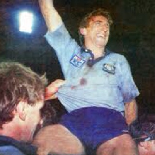 Steve Mortimer being chaired by team mates after captaining NSW to its first State of Origin series victory -  1985