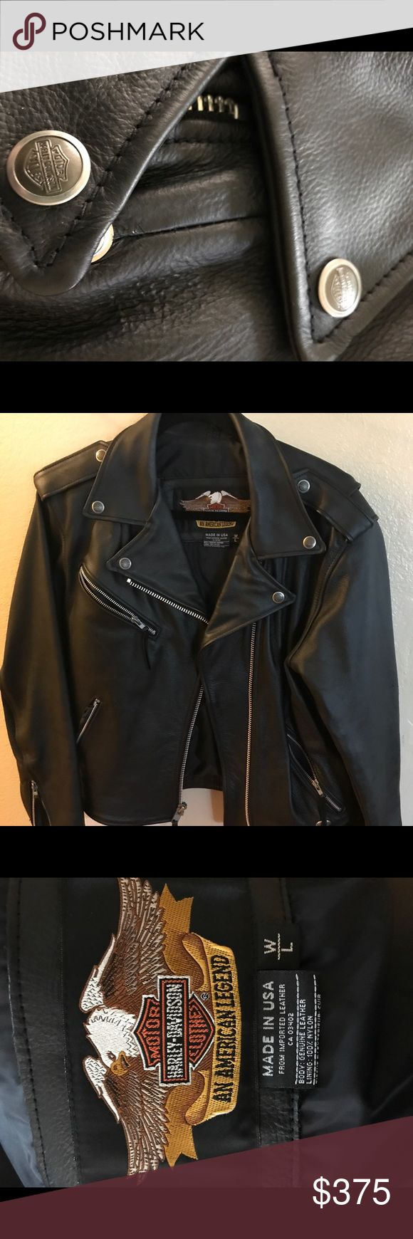 Harley Davidson women's leather jacket & gloves Purchased jacket and gloves from Harley Davidson store for $500 - only worn ONCE! In perfect condition! Jacket is size large and gloves are size medium. Harley-Davidson Jackets & Coats