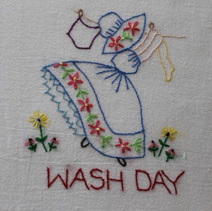 "Hand Embroidered ""Girl"" Flour Sack Kitchen Dish Towels Set of 7 | eBay"