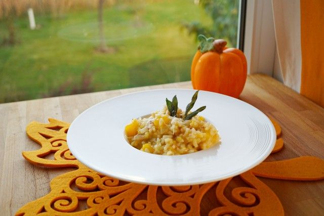 Risotto with Pumpkin, Pancetta (Bacon) and Sage
