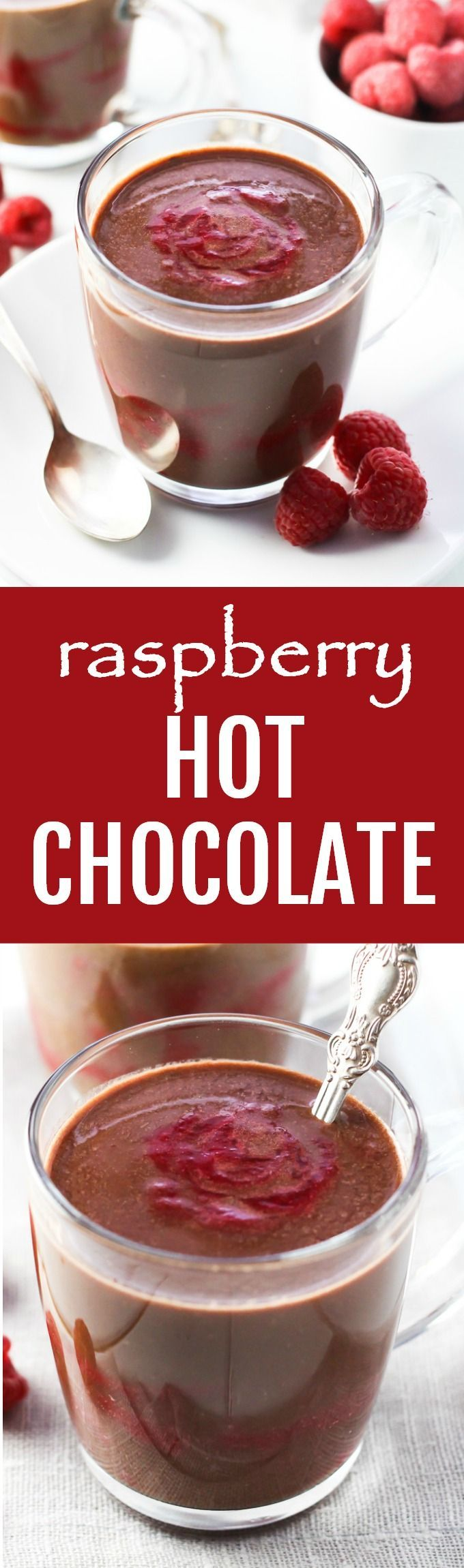 This raspberry hot chocolate is so rich, creamy, and comforting that you won't believe it's healthy. This easy recipe is made with cocoa powder, dark chocolate, raspberries, and maple syrup. And you can make this winter drink vegan by using non-dairy milk. The ingredient quantities are for one serving so you can just multiply them to make as much as you need. Refined sugar free.