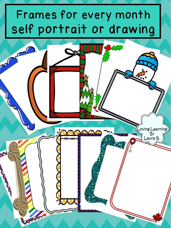 Frames for every month can be used for self-portraits to show changes in drawing skills over time, or for activities, writing, or drawing.