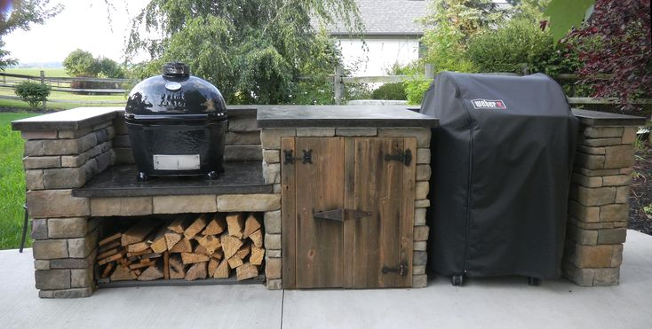 wood storage + rustic door + smoker combo with grill all rustic feel is neat. don't like the standalone grill though
