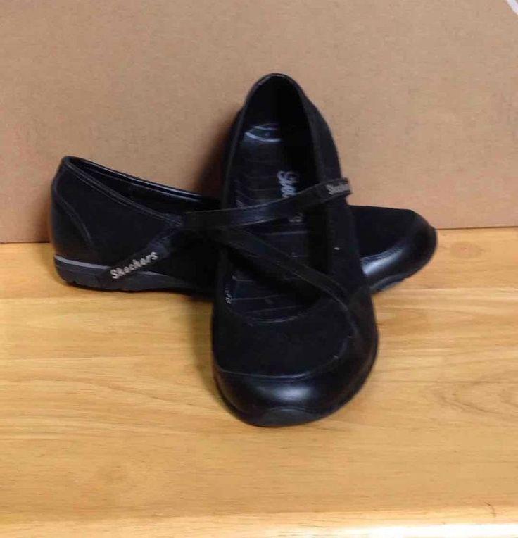 Black Skechers Mary Jane Sneakers Velcro Closure SZ 7 #SKECHERS #MaryJanes #Casual