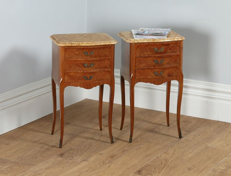 Antique Pair of French Louis XVI Tulipwood & Parquetry Bedside Cabinets (Circa 1900)