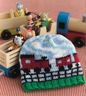 This charming choo-choo is created with a combination of Fair Isle and duplicate stitch, with a variegated colorway painting the sky.